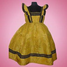 Beautiful Antique Yellow Silk Doll Dress w Antique Black Bonnet