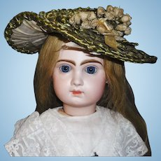 Wonderful Antique Green Straw Doll Hat