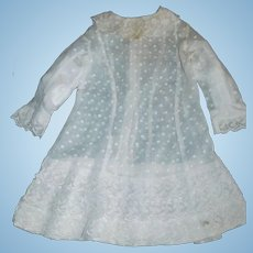 Nice Antique Dotted White Child / Large Doll Dress