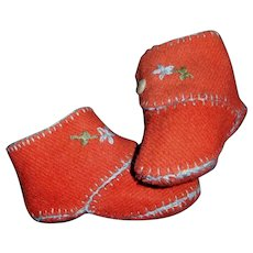 Nice Pair of Red Wool Baby / Doll Boots