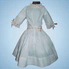 Nice Early White Cotton Doll Dress, Lace and Ribbons