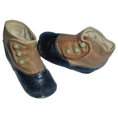 Pair of Antique 2 Tone Leather Baby / Large Doll Boots