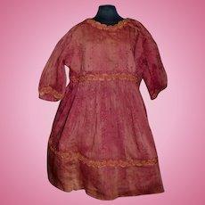 Antique Rose Silk Doll Dress w Damage