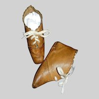 Wonderful Pair of Brown Leather Antique Doll Boots, JJ Trademark