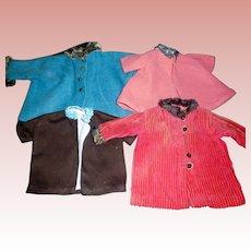 4 Early Vintage Doll Coats, TLC