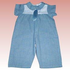Cute Blue Plaid Cotton Doll Romper, Schoenhut