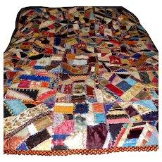 Fabulous Antique Silk Quilt Ca 1870, w Provenance, Nashville Tenn.