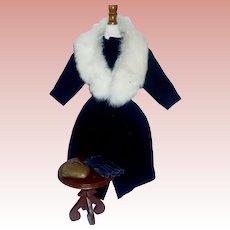 Wonderful French Fashion Doll Coat w Collar, Gloves and Purse