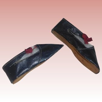 Pair of Long Leather Doll Shoes, Papier Mache, China, Cloth