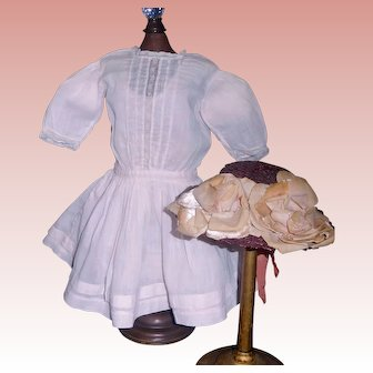 Pink Antique Doll Dress w Petticoat and Hat