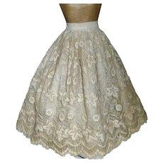 Beautiful Antique Fashion Ecru Petticoat w Embroidered Lace Over Skirt