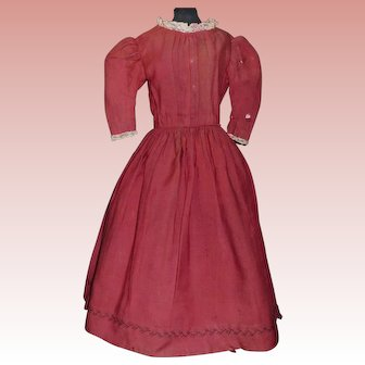Nice Antique Doll Dress, China, Cloth, Papier Mache