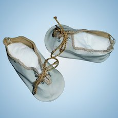 Pair of Antique White Oil Cloth German Doll Shoes