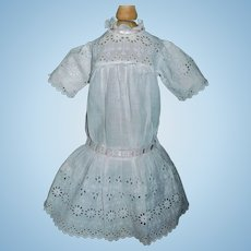 Antique White Eyelet Doll Dress, Pink Ribbons