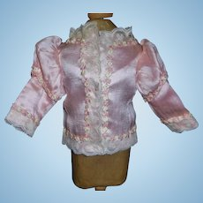 Pretty Pink Silk Fashion Doll Jacket, Floral Trim
