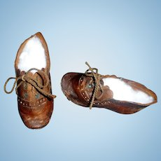 Pair of Antique Brown Leather Character / Boy Doll Shoes 5