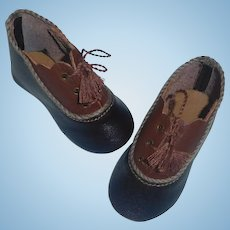 Pair of Two Tone Leather Doll Shoes Boy / Character