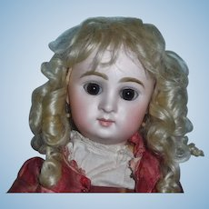Lovely Antique Blonde Mohair Doll Wig, French or German Bebe