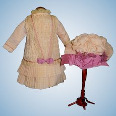 Pretty Pink Crepe Smocked Bebe Dress and Hat