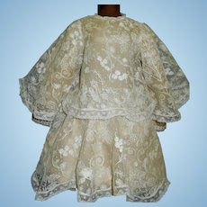 Lovely Antique Doll Dress, Silk and Lace