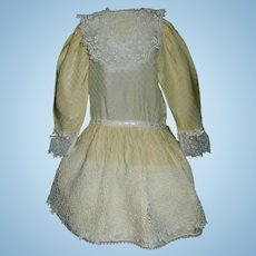 Wonderful Yellow Antique Doll Dress, Fabulous Lace, French or German