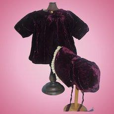 Lovely Antique Dark Purple Velvet Doll Coat and Bonnet, French or German Bebe
