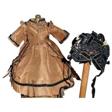 Beautiful Antique Small French Fashion Silk Dress with Bonnet