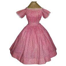 Fabulous Antique Pink Calico Cotton Doll Dress, Papier Mache, Cloth