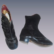 Fabulous Pair of Antique Leather Children's High Button Boots