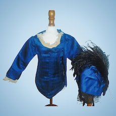 Lovely Antique Blue Silk Fashion Jacket with Matching Bonnet