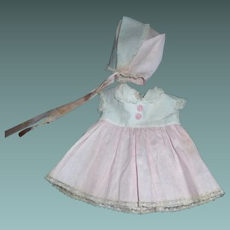 Vintage Pink and White Pique Tiny Tears Doll Dress and Bonnet