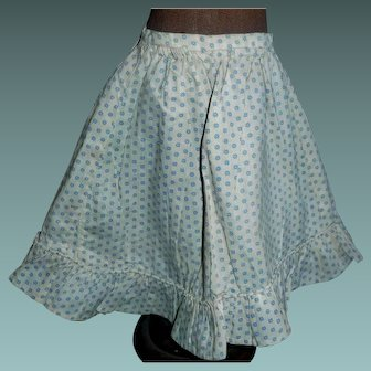 Pretty Blue and White Calico Cotton Doll Skirt, China, Papier Mache, Cloth