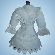 Lovely White Cotton Antique Doll Dress, Embroidery, Eyelet Lace Ruffle