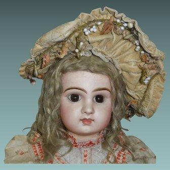 Fabulous Antique Velvet French Doll Hat, Wax Flowers