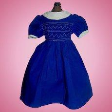 Lovely Dark Blue Cotton Doll Dress, Fancy Stitched Bodice
