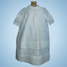 Nice White Cotton Doll Dress for an Antique Doll