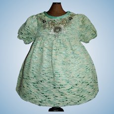 Lovely Early Soft Silk Doll Dress, Floral Applique.