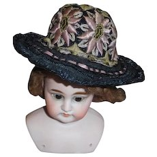 Pretty Blue Straw Fashion Doll Hat, Embroidered Flowers