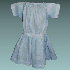 Vintage Blue Cotton Doll Dress, White Lace Trim