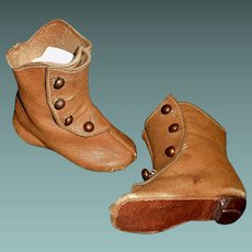 Great Pair of Antique Brown Leather Doll Boots