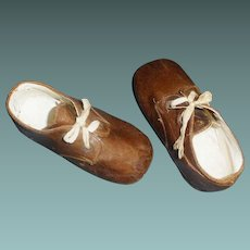 Cute Pair of Early Brown Leather Boy / Large Doll Shoes