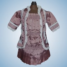 Lovely Mauve 2 Pc Doll Dress, French or German Bebe