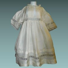Lovely Antique Child / Large Doll Silk Dress, Pintucks and Lace