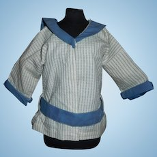 Cute Blue and White Mariner Style Doll Blouse, Schoenhut