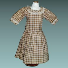 Nice Brown and White Cotton Doll Dress, Lace Trim
