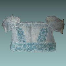 Pretty Antique Doll Bodice, Cloth, Papier Mache