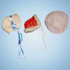 3 Small Early Vintage / Antique Doll Hats