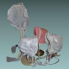 4 Vintage Composition Doll Bonnets