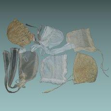 6 Antique Doll Bonnets