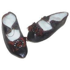 Nice Pair of Dark Brown Leather Doll Shoes